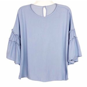 Anthropologie Blue Ruffle Bell Sleeves Top